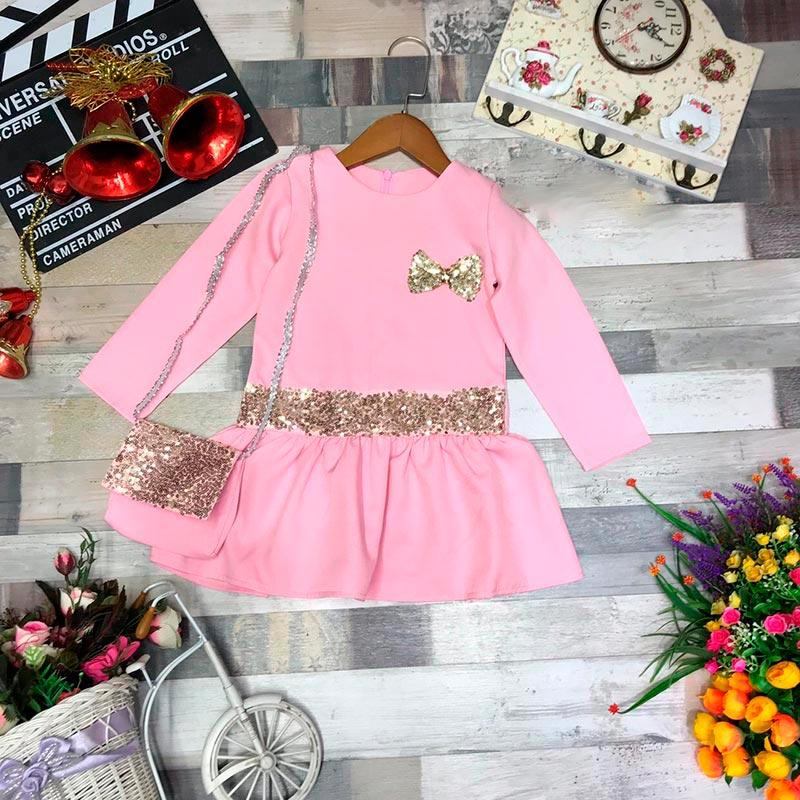 Платье для девочек, цвет свело-розовый  96147