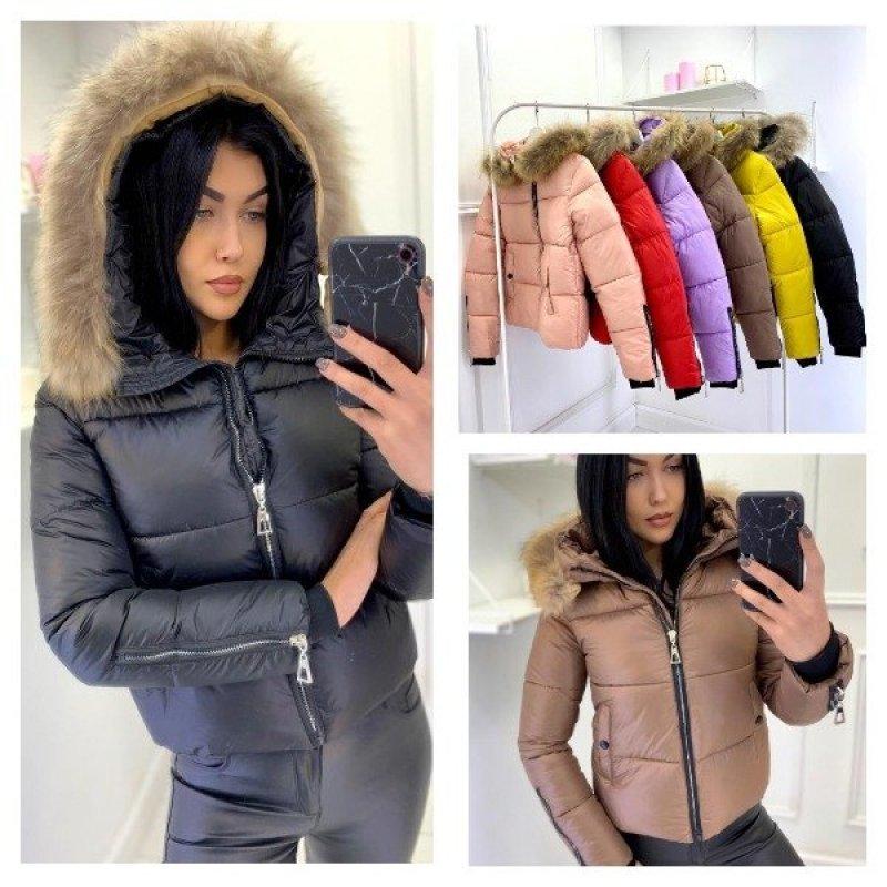 Укорочённая куртка с натуральным мехом|Х10076