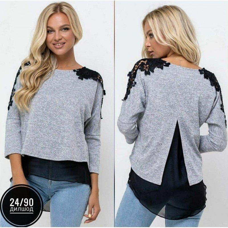 Женская блузка,  цвет-серый Х11051