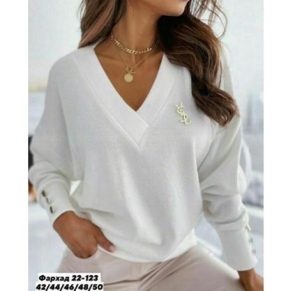 Женские блузки c брошкой в комплекте 13073